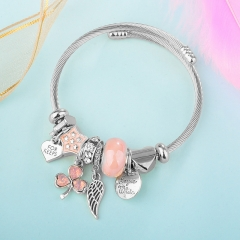 Stainless Steel Bracelet With Alloy Charms BS-1848A