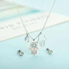 popular cubic zirconia brass charm stainless steel jewelry set  XXXS-0347