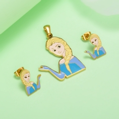 Stainless Steel Cartoon Kids Jewelry Necklace Set KKSTAO-0323