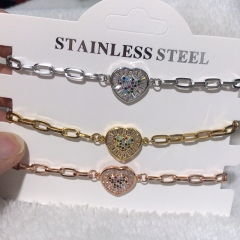 stainless steel chain with copper charm diamond bracelet TTTB-0213