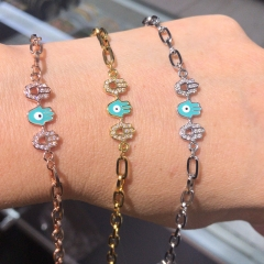 stainless steel chain with copper charm diamond bracelet TTTB-0154