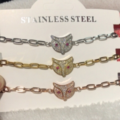 stainless steel chain with copper charm diamond bracelet TTTB-0211