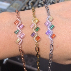 stainless steel chain with copper charm diamond bracelet TTTB-0178